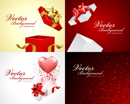 stylish couple: Set Happy Valentines Day greetings cards vector background design. Valentines day wishes, hearts, love symbols, bokeh light and gifts.