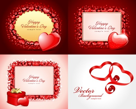 Set Happy Valentines Day greetings cards vector background design. Valentines day wishes, hearts, love symbols, bokeh light and gifts. Vector