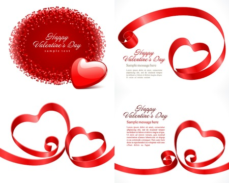 love explode: Set Happy Valentines Day greetings cards vector background design. Valentines day wishes, hearts, love symbols, bokeh light and gifts.