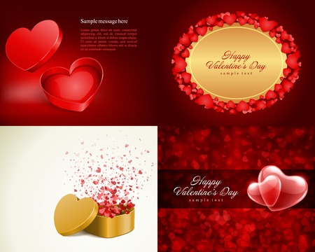 14 february: Set Happy Valentines Day greetings cards vector background design. Valentines day wishes, hearts, love symbols, bokeh light and gifts.