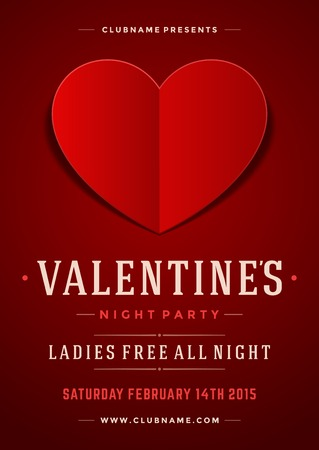 Happy Valentines Day Party Poster Design Template. Typography flyer invitation vector illustration. Vectores