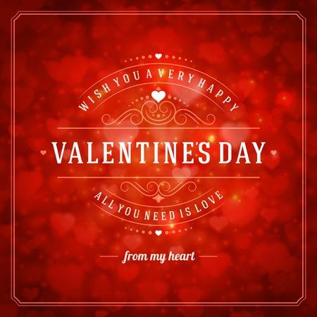해피 발렌타인 데이 인사말 카드 일러스트