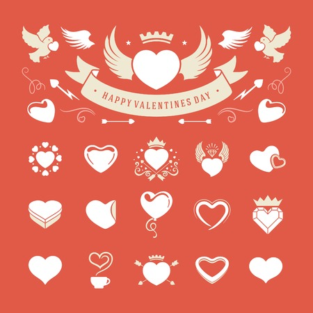 Valentines Day and Wedding Vintage Objects Vector and symbols Set: Hearts, Love Labels, Arrow, flowers, ribbons and Icons. Vector design elements Vector