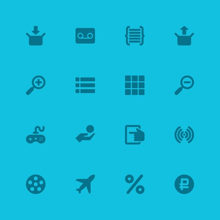 Flat icons vector set for web design, infographics, ui and mobile apps. Objects, business, office, communication and marketing items Vector
