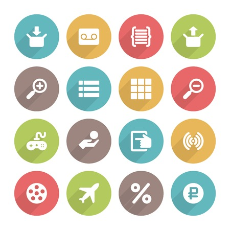 Flat icons vector set and long shadow effect for web site design, infographics, ui and mobile apps. Objects, business, office, communication and marketing items Vector