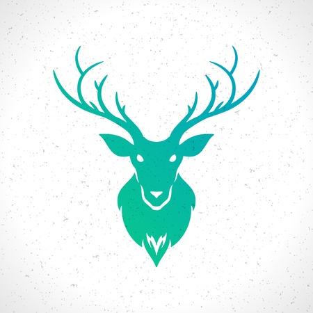 deer silhouette: Deer head silhouette isolated on white background vintage vector design element illustration Illustration