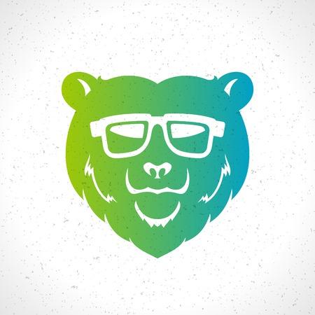 Hipster bear head mascot silhouette and glasses vintage vector design element illustration Vector