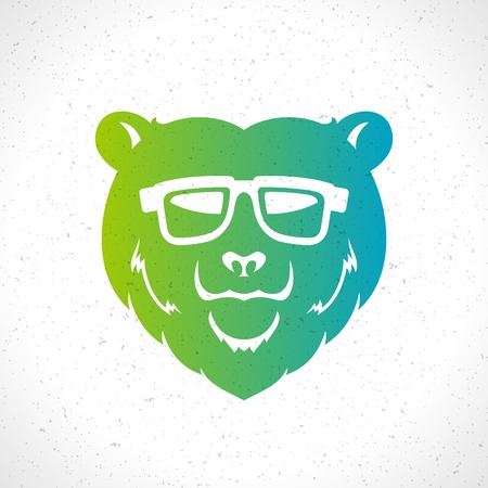 Hipster bear head mascot silhouette and glasses vintage vector design element illustration Vector