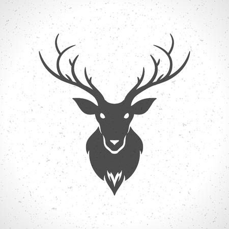 흰색 배경 빈티지 벡터 디자인 요소 그림에 고립 된 사슴 머리 실루엣 일러스트
