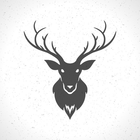 Deer head silhouette isolated on white background vintage vector design element illustration Çizim