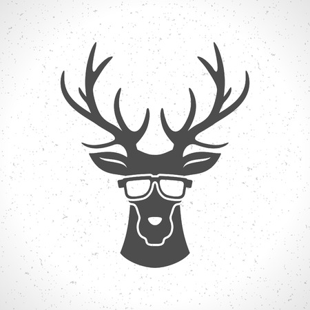 animal head: Deer head silhouette isolated on white background vintage vector design element illustration Illustration
