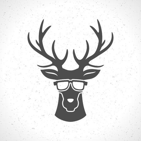 cazador: Silueta de la cabeza de los ciervos aislada en el fondo blanco vector vendimia elemento de diseño de ilustración