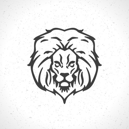 roar: Lion face icon emblem template for business or t-shirt design. Vector Vintage Design Element. Illustration