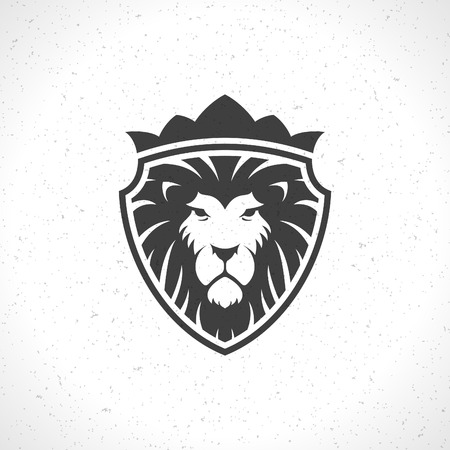 crest: Lion face icon emblem template for business or t-shirt design. Vector Vintage Design Element. Illustration