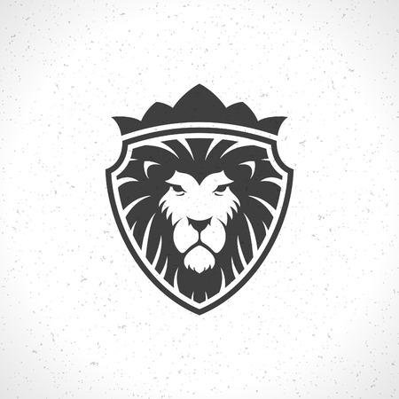 Szablon twarz lwa godło ikona dla biznesu lub t-shirt design. Wektor Vintage Design Element.