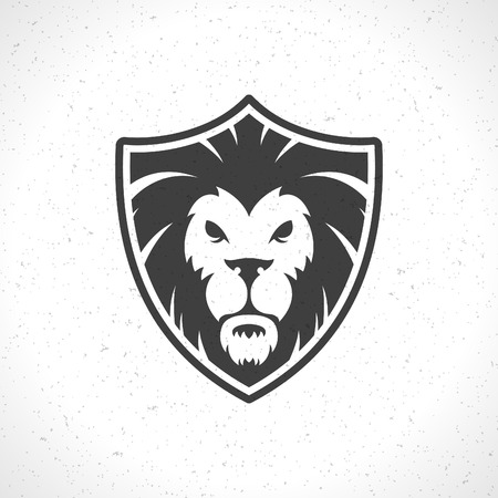 dingbat: Lion face icon emblem template for business or t-shirt design. Vector Vintage Design Element. Illustration