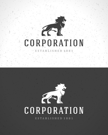 lion roar: Lion face icon emblem template for business or t-shirt design. Vector Vintage Design Element. Illustration