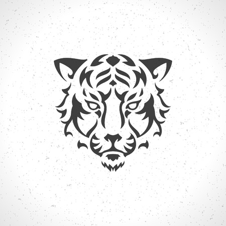 Tiger face icon emblem template mascot symbol for business or shirt design. Vector Vintage Design Element. Vectores