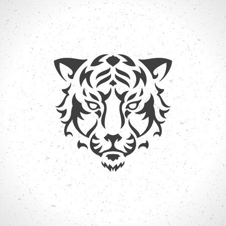 Tijger gezicht pictogram embleem sjabloon mascotte symbool voor zaken of shirt design. Vector Vintage Design Element. Stock Illustratie