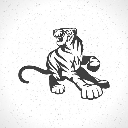 silueta tigre: Tiger icono emblema s�mbolo plantilla mascota de dise�o de negocios o una camisa. Vector Vintage Design Element. Vectores