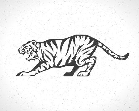 silueta tigre: Tiger icono emblema símbolo plantilla mascota de diseño de negocios o una camisa. Vector Vintage Design Element. Vectores