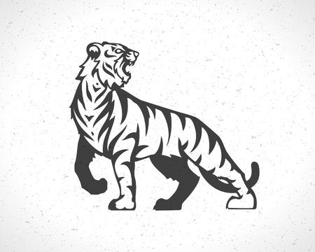Tiger icon emblem template mascot symbol for business or shirt design. Vector Vintage Design Element. Vettoriali