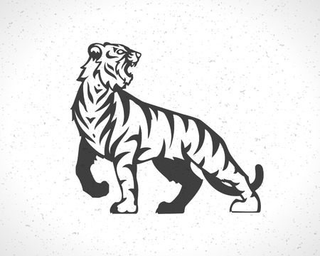 Tiger pictogram embleem sjabloon mascotte symbool voor zaken of shirt design. Vector Vintage Design Element.