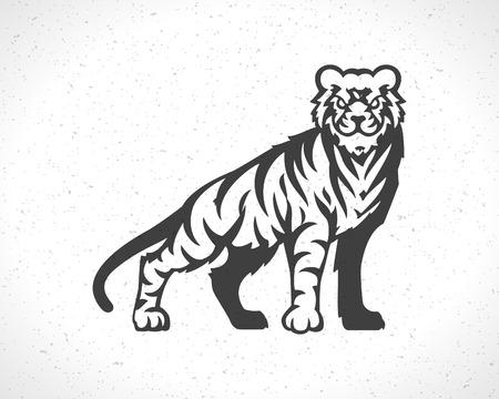 Tiger icon emblem template mascot symbol for business or shirt design. Vector Vintage Design Element.  イラスト・ベクター素材