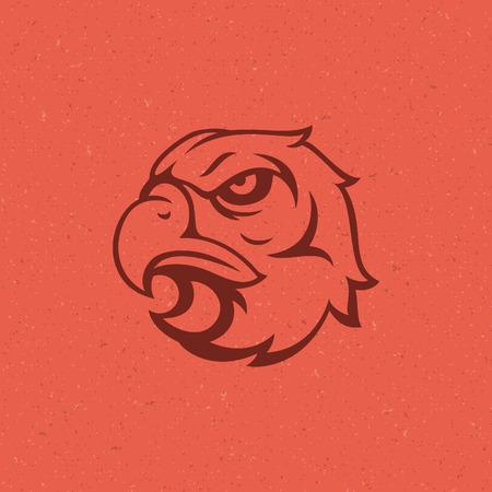 shield sign: Eagle head icon emblem template mascot symbol for business or shirt design. Vector Vintage Design Element.