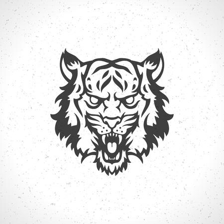 dingbat: Tiger face icon emblem template mascot symbol for business or shirt design. Vector Vintage Design Element. Illustration