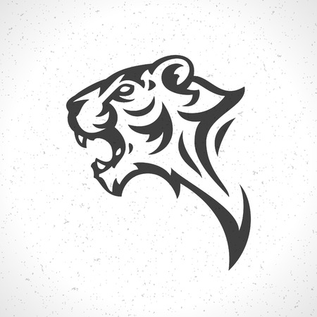 Tiger face icon emblem template mascot symbol for business or shirt design. Vector Vintage Design Element.