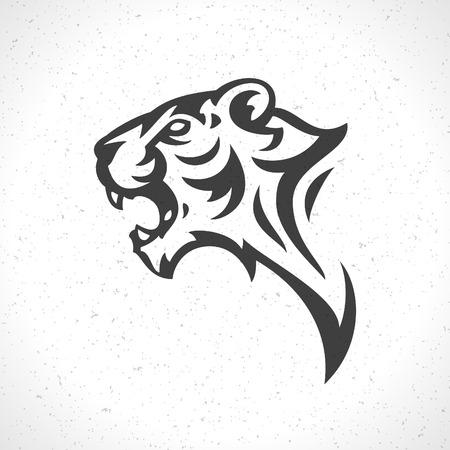 Tiger face icon emblem template mascot symbol for business or shirt design. Vector Vintage Design Element. Vettoriali