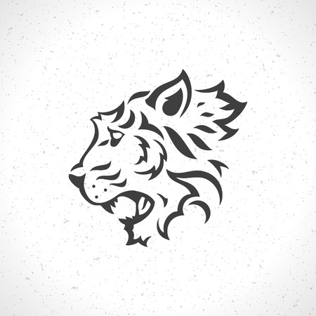 shirt template: Tiger face icon emblem template mascot symbol for business or shirt design. Vector Vintage Design Element. Illustration