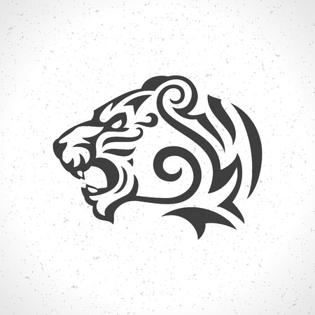 Tiger face icon emblem template mascot symbol for business or shirt design. Vector Vintage Design Element.  イラスト・ベクター素材