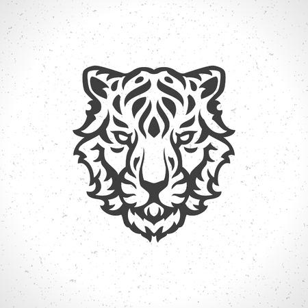 silueta tigre: Cara del tigre icono de plantilla emblema símbolo mascota de diseño de negocios o una camisa. Vector Vintage Design Element. Vectores