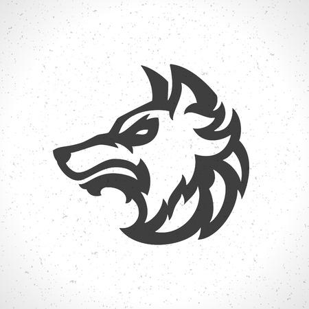 Wolfs gezicht pictogram embleem sjabloon mascotte symbool voor zaken of shirtontwerp. Vector Vintage Design Element. Stock Illustratie
