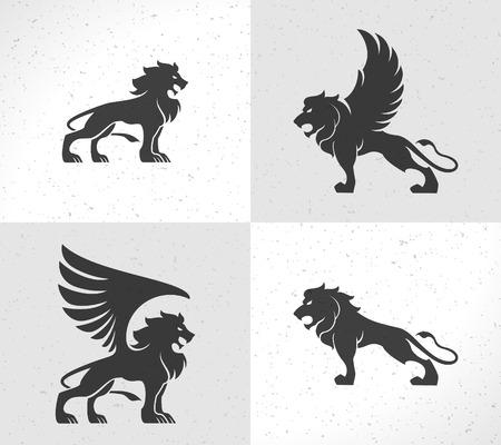 Lion face icon emblem template for business or t-shirt design. Vector Vintage Design Element. 일러스트