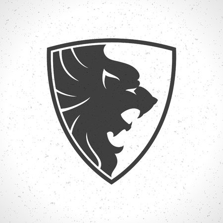 leones: Cara del le�n plantilla icono emblema para el dise�o de negocios o una camiseta. Vector Vintage Design Element.