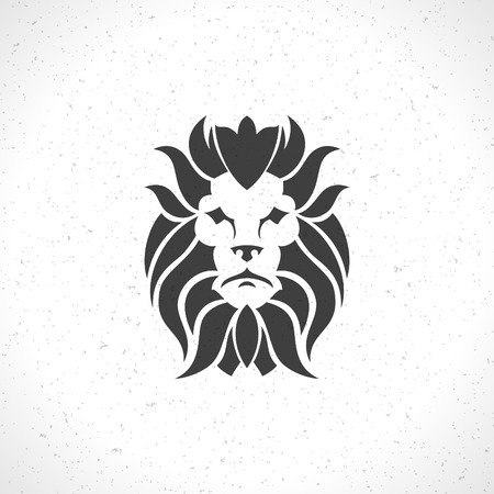 head icon: Lion face icon emblem template for business or t-shirt design. Vector Vintage Design Element. Illustration