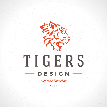dingbat: Vintage Tiger icon or mascot emblem symbol. Can be used for T-shirts print, labels, badges, stickers, vector illustration.