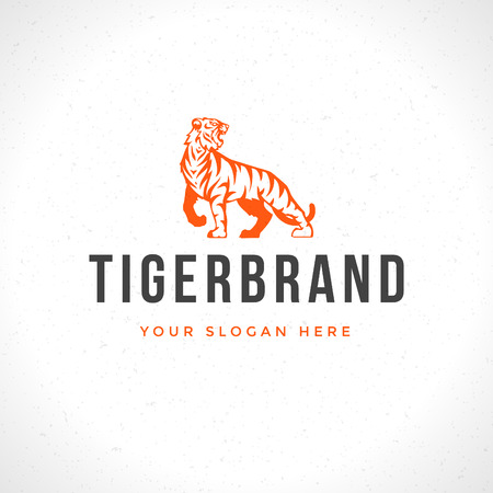 Vintage Tiger icon or mascot emblem symbol. Can be used for T-shirts print, labels, badges, stickers, vector illustration.