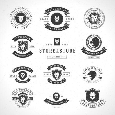 빈티지 사자 아이콘 세트 마스코트 상징 기호. 셔츠 인쇄, 라벨, 배지, 스티커 벡터 일러스트 레이 션을 사용할 수 있습니다.