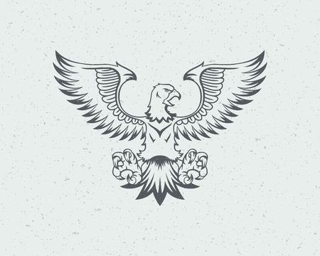 dingbat: Eagle flying icon emblem template mascot symbol for business or shirt design. Vector Vintage Design Element. Illustration