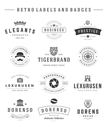 old style lettering: Retro icon set vector vintage graphics design elements for icon, identity, labels and badges.