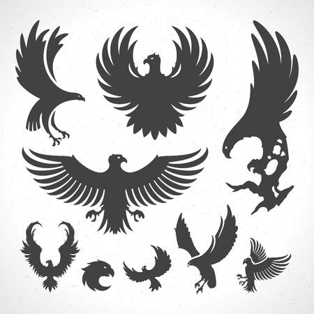 dingbat: Eagles icon emblems template set mascot symbol for business or shirt design. Vector Vintage Design Element.