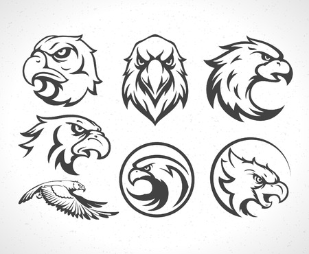 head of animal: Eagles icon emblems template set mascot symbol for business or shirt design. Vector Vintage Design Element.