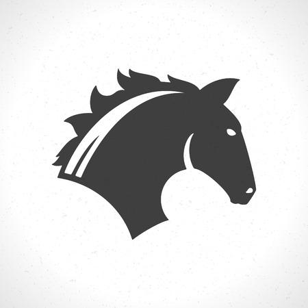 dingbat: Horse face icon emblem template mascot symbol for business or shirt design. Vector Vintage Design Element.