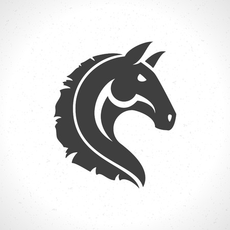 cabeza caballo: Icono de la cara del caballo plantilla emblema s�mbolo de la mascota para el dise�o de negocios o una camisa. Vector Vintage Design Element.