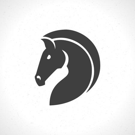 비즈니스 셔츠 디자인에 대한 말 얼굴 아이콘 엠블럼 템플릿 마스코트 상징. 벡터 빈티지 디자인 요소입니다. 일러스트