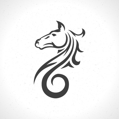 Horse face icon emblem template mascot symbol for business or shirt design. Vector Vintage Design Element. 免版税图像 - 39158024